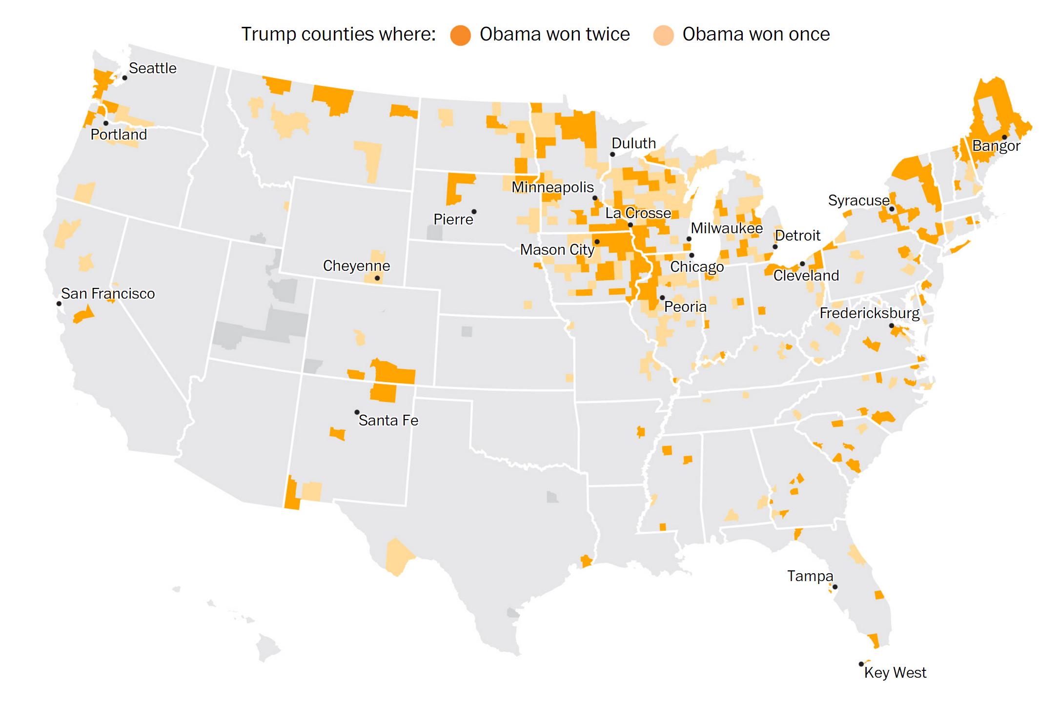 Counties that voted for Obama and Trump