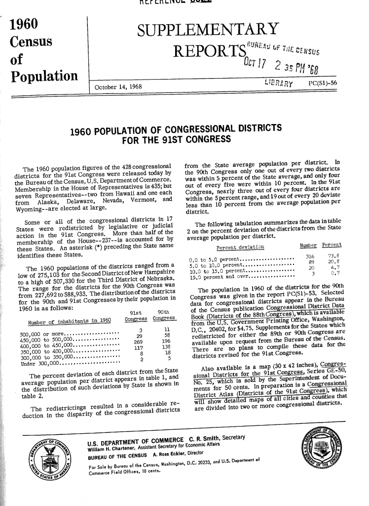 US Census 1960 supplement - Congressional Districts